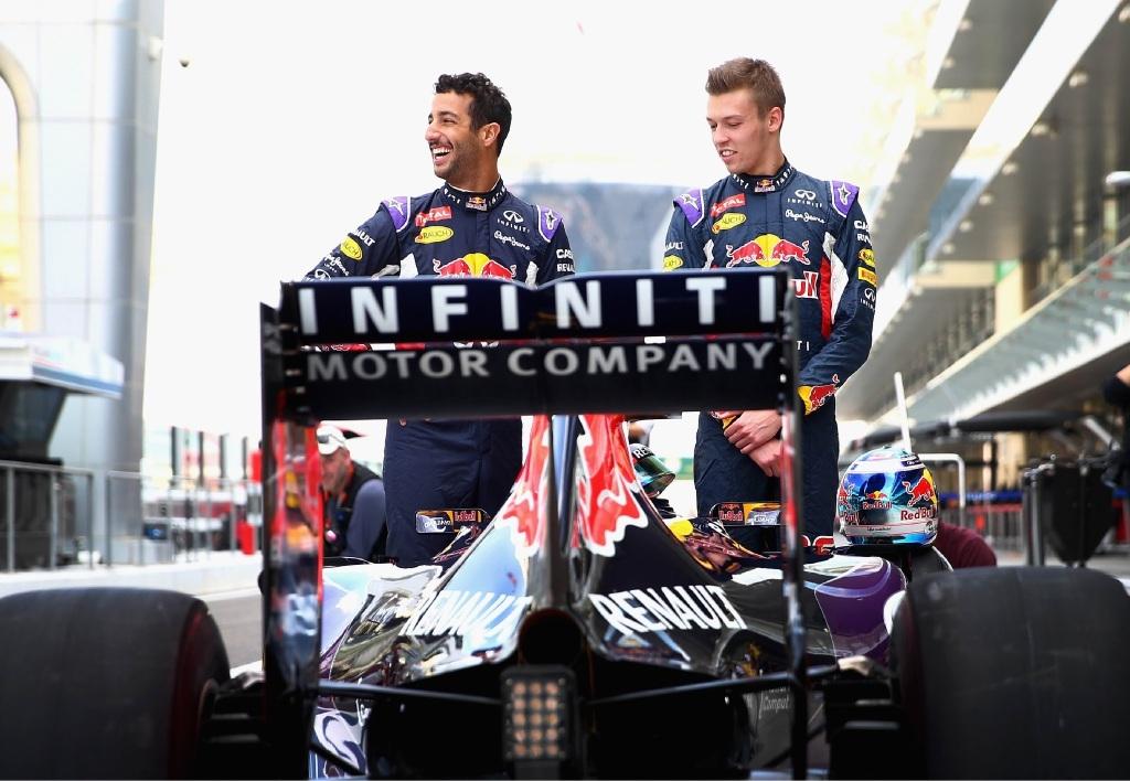 Daniel Ricciardo and fellow Red Bull driver Daniil Kvyat in Abu Dhabi recently.Picture: Clive Mason/Getty Images