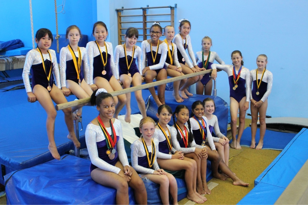 Some of the gymnasts who won medals at the Gymnastics WA Foundation Finale and Club Levels Championships last month