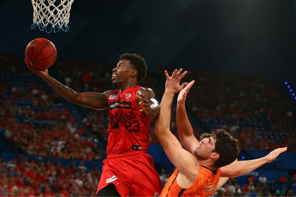 Perth Wildcats US import Casey Prather drives to the hoop during his side's nail biting round seven win over Cairns Taipans at Perth Arena last Sunday.
