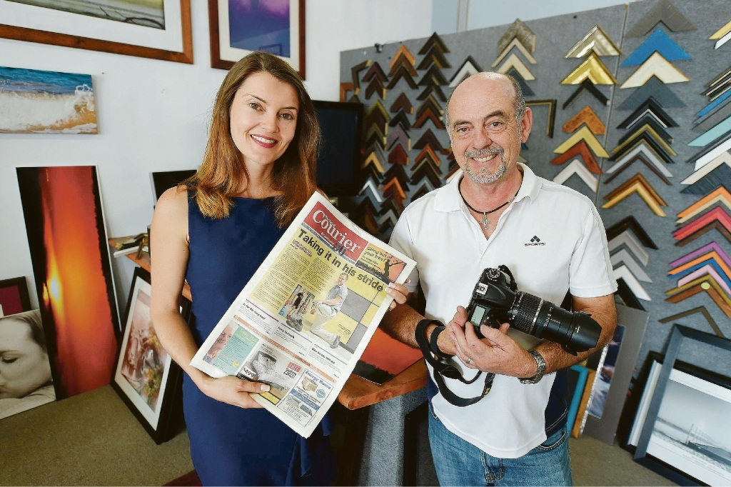 Courier editor Vanessa Schmitt with veteran photographer Russell Edmunds.