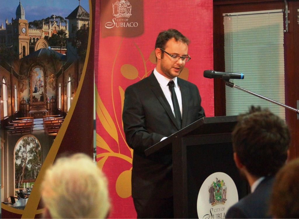 Josh Brown speaking at the launch of the latest New Norcia Studies journal.