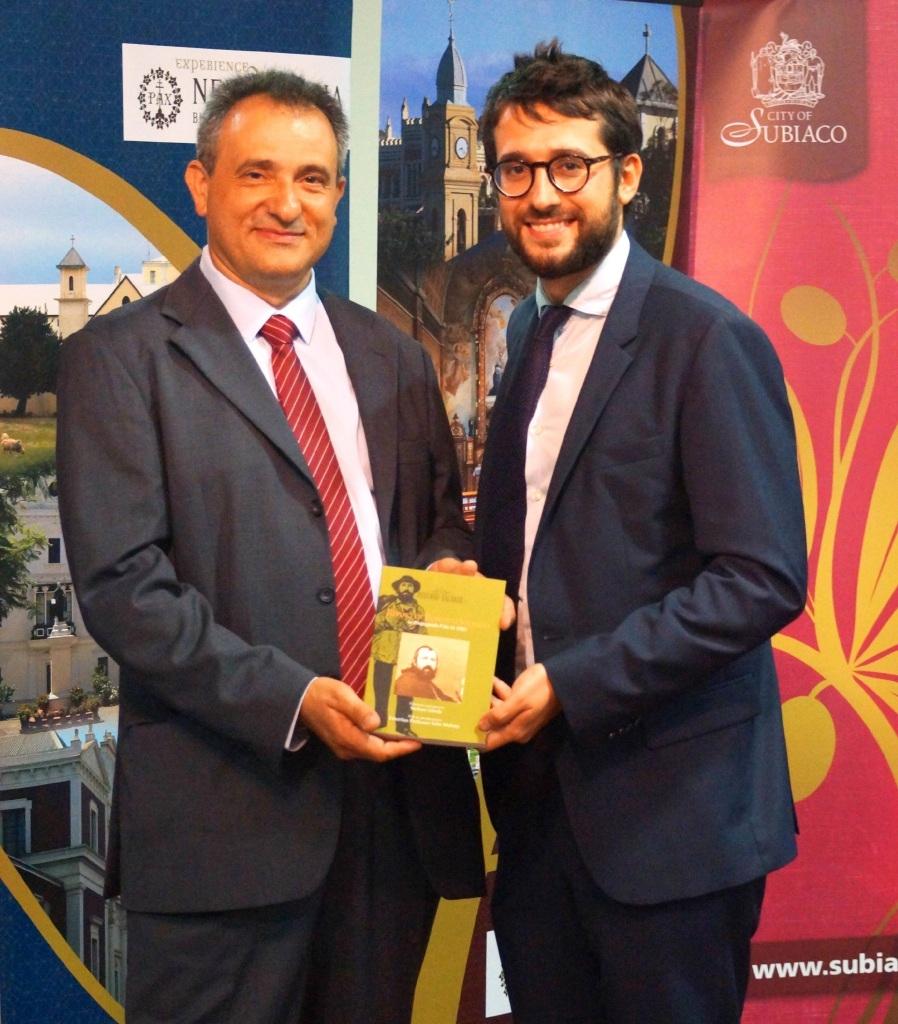 Stefano Girola and WA Italian Consul David Balloni at the launch in Subiaco last week of Dr Girola's book.