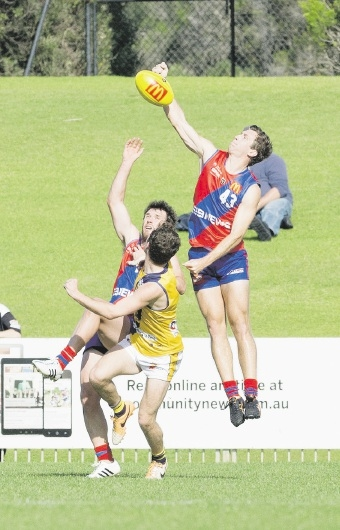 West Perth's Blake Wilhelm gets to the ball ahead of Claremont. Picture: Dan White