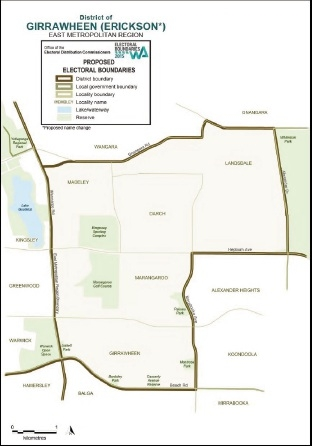The WA Electoral Commission has proposed changing the Girrawheen electorate to Erickson.
