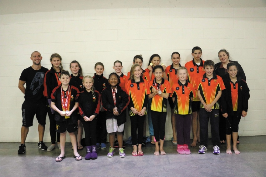 Kwinana Swimming Club members at the Peel Aquatic meet.