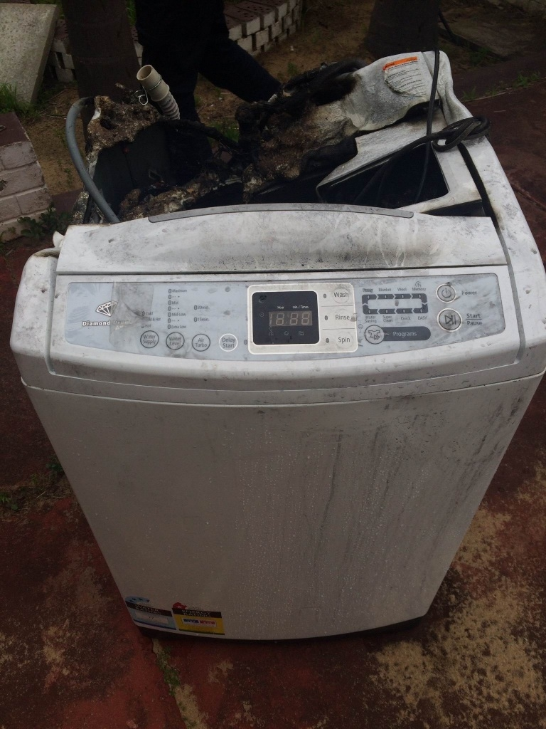 The Samsung washing machine that burst into flames in a Parmelia house.