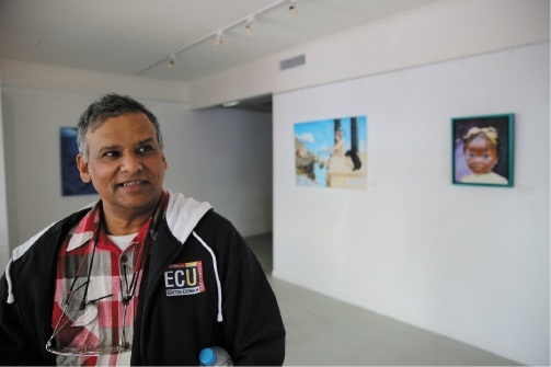 ECU student George Louis volunteers at the Joondalup Art Gallery.