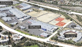An view from the sky of the new lots available at The Quadrangle, the new business district in Joondalup.