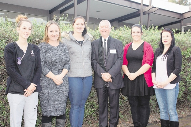 Cr Don Pember with Amanda Wilkinson, Hayley Whitmore, Joanne Dean, Kimberley Johnstone and Chanelle Hinder.