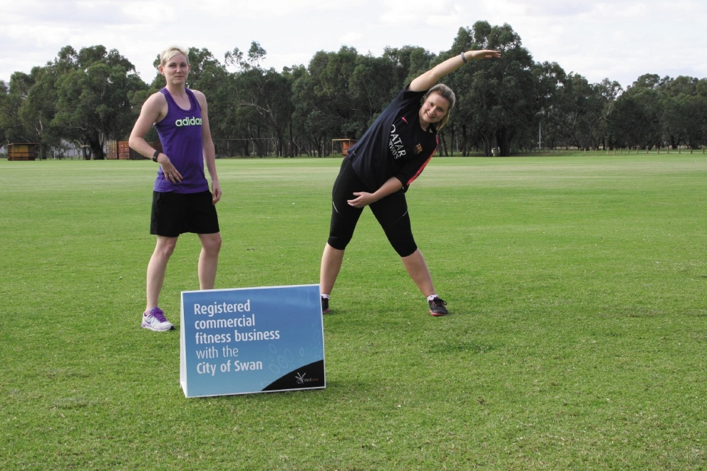 Personal trainers Cassie Stacey and Jemma Tarlarczyk.