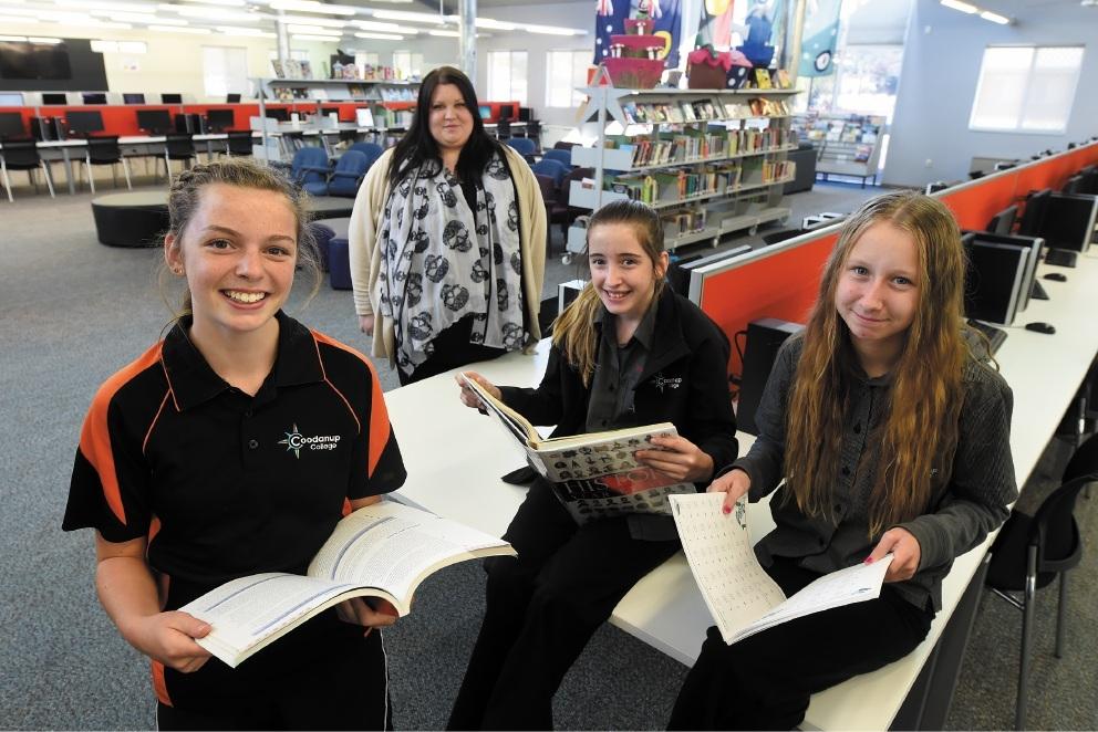 Avid readers Emily Hawkins, Olivia Manns and Katie Leworthy. Picture: Jon Hewson d438011