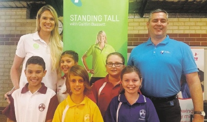 Caitlin Bassett with students Jerome Baptiste, Olivia Howell, Kobi Richards, Sarah Dec, Olivia Harrison and Ocean Reef Telstra store manager Martin Stamp.