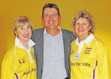 Keith Daddow with Relay for Life committee members Bernice Marwick and Carol Curtis.
