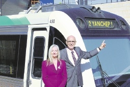 Wanneroo Mayor Tracey Roberts and Butler MLA John Quigley want State funding for a rail line to Yanchep.        Digitally altered image