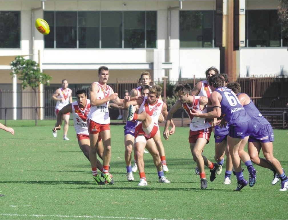 South Fremantle's Cory Dell'Olio (kicking) has made the preliminary WAFL squad
