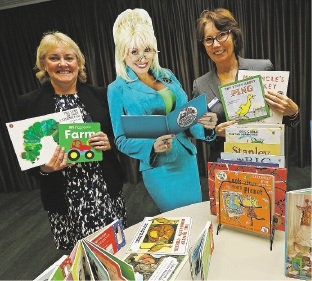 United Way WA chairwoman Julie Keen, a cut-out of patron Dolly |Parton and United Way WA chief executive Sue Dixon.