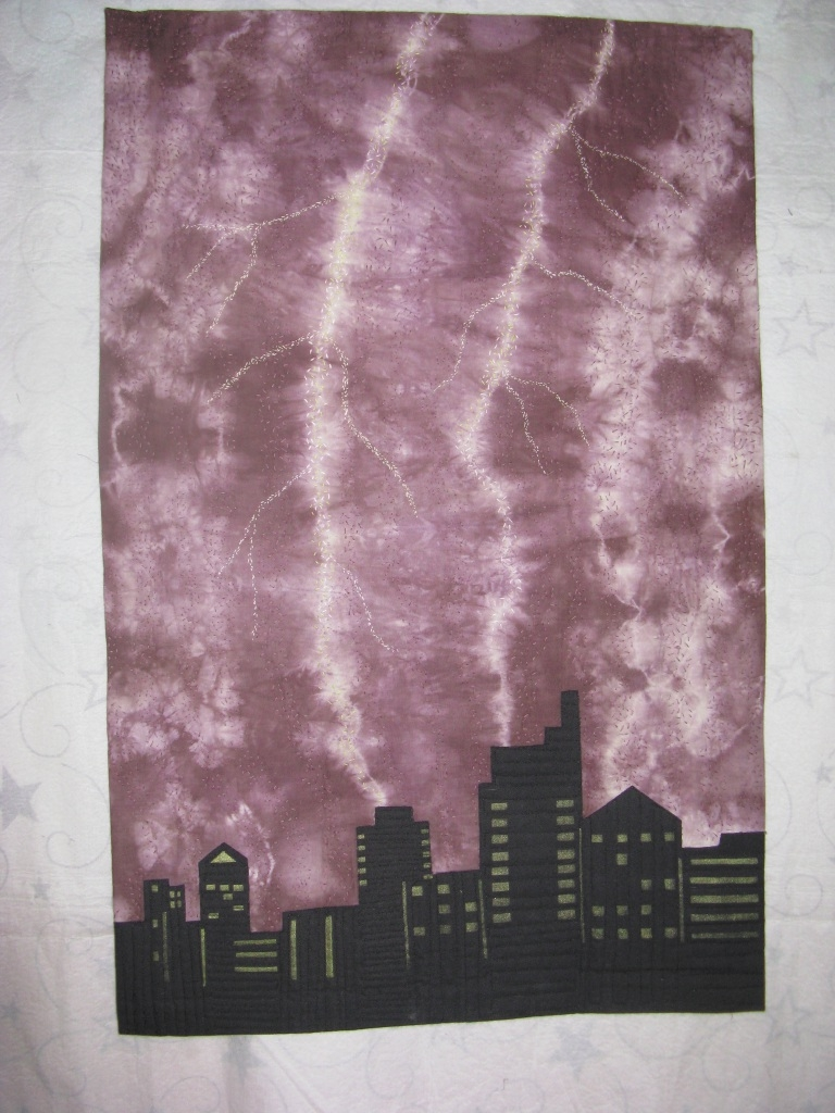 One of Stephanie Knudsen's contemporary quilts titled Lightning Strike.