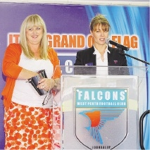 Debbie Lanario and West Perth business development manager Erin Capsis draw the raffle.