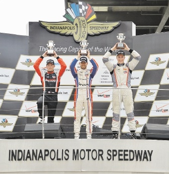 On the podium at Indy:  Anthony Martin (right) with Nico Jamin and Aaron Telitz. Picture: LLC Photography