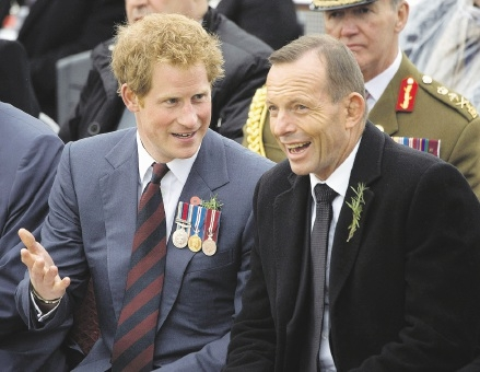 Prince Harry with Prime Minister Tony Abbott at the Gallipoli commemorations in Turkey on the weekend. Picture: Getty Images.