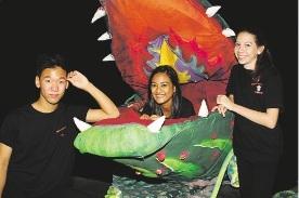 Mercy College drama students Joshua Donovan, Samantha Samuels and Emily Osborne are enjoying rehearsals.