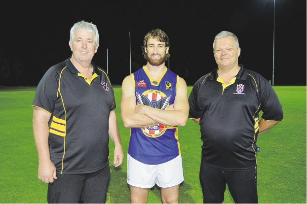 Warnbro Swans president Ian Cramer, Ben Voges and league coach Lee Dawson.