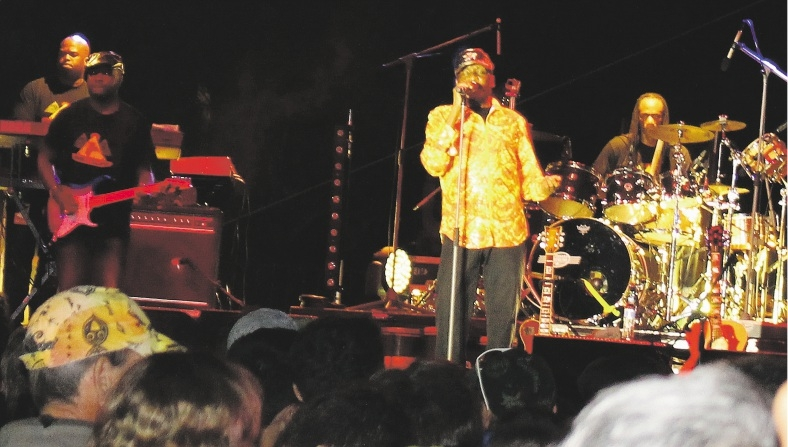 Jimmy Cliff and band in action at the Global Beats and Eats festival last Saturday night.