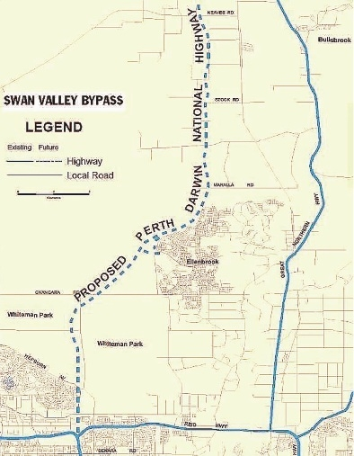 An early sketch of the planned Swan Valley Bypass.