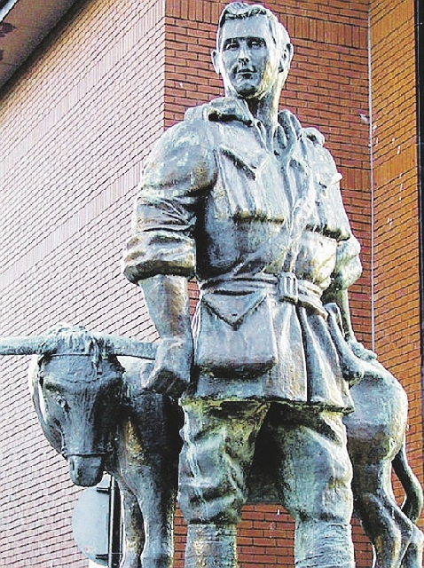 The statute of Simpson and his donkey who saved lives at Anzac Cove.