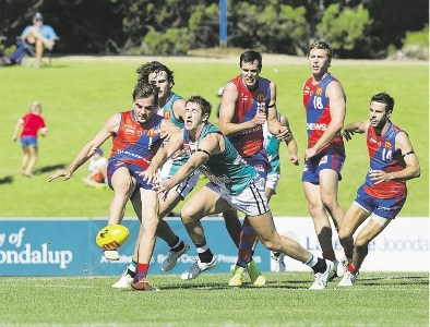 Fremantle star Michael Barlow tries to spoil West Perth's Aaron Black. Picture: Dan White