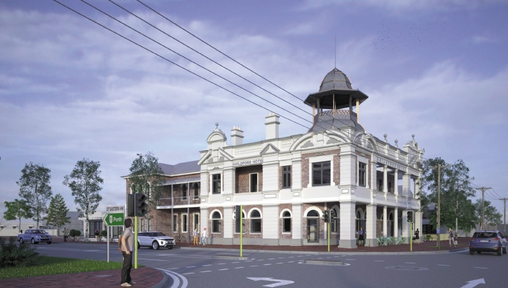 An artist's impression of the rebuilt Guildford Hotel.