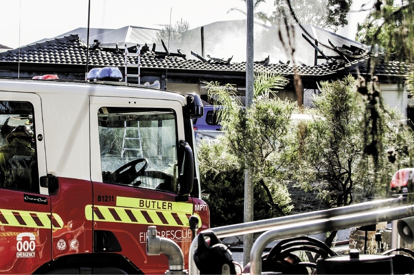 A Clarkson house destroyed in a deliberately-lit fire yesterday. Picture: Josh Tucker