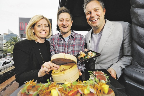 Lord Mayor Lisa Scaffidi, Andy Freeman and Scott Taylor celebrate Eat Drink Perth with a