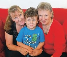 Deanne Hetherington (right) with some of her support network – daughter Nicole and grandson Riley.