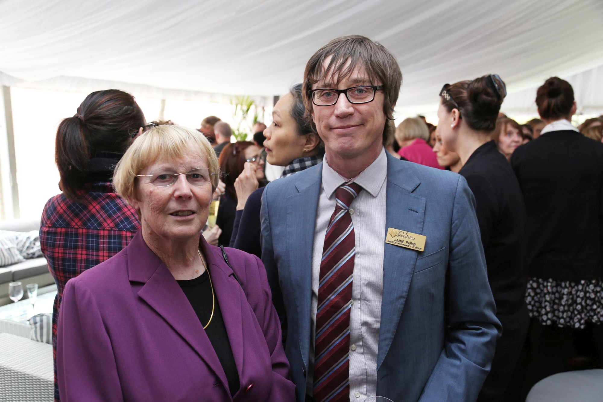 Susan King and Jamie Parry at the function to farewell Professor Cox.