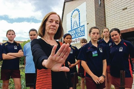 Swan View Primary School principal Margaret Dove and her students do not want a liquor store to replace a fruit and vegetable shop at a nearby shopping centre. Picture: Joel Kelly