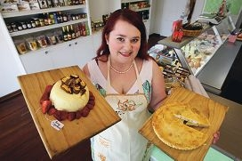 Elizabeth Jenkin with a few homemade delights from her newly opened deli. Picture: Bruce Hunt www.communitypix.com.au d425755