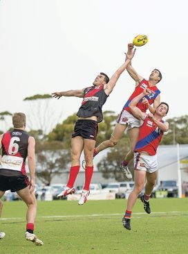 Dan Hunts launches for a spoil against Perth earlier this season. Picture: danwhitephotos.com