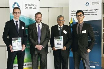 Edward Blackley (National Sales Manager MPower Solar System), Michael Mischin (Commerce Minister), Tirthankar and Binayak Banerjee (Oztron Energy Directors)