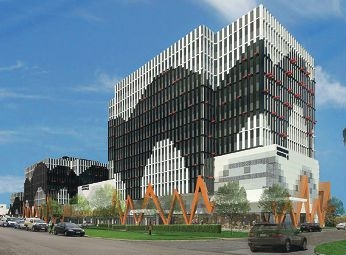 An artist's impression of the three part multi-storey office block.