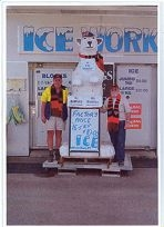 Welshpool Ice Works owner Bob Watson and office manager Bernie Boylan with Charlie the bear last year.