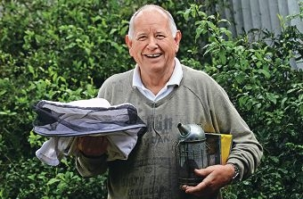 Soren Otto Houlberg with some of his bee-keeping gear. Picture: Elle Borgward d405347