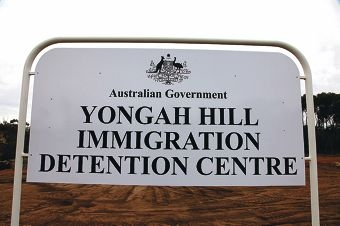 Protestors outside the Yongah Hill Detention Centre earlier this year. Picture: Alex Bainbridge