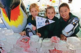 Rossmoyne students Charlotte McNamee, Gemma Andrews and Clarissa Qiu with ice castle built for Science Week.