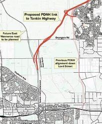 A map of the proposed Perth to Darwin Highway.