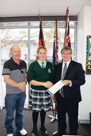 Anthony Crock, Katelyn Crock and Brand MHR Gary Gray. Katelyn received funding to pursue her competitive swimming career.