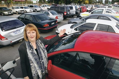 Midland MLA Michelle Roberts in the packed car park at Midland train station. Picture: Bruce Hunt www.communitypix.com.au d406019