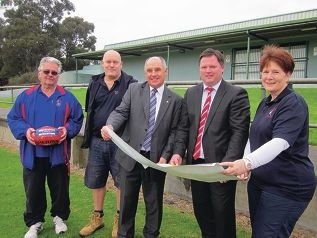 Over the moon: Terry Davidson from the Forrestfield Football Club), John Ferguson from the Forrestfield Flyers tee-ball, Sport and Recreation Minister Terry Waldron, Forrestfield MLA Nathan Morton and Tricia Lovell from the Kalamunda Districts Hockey Club survey plans for Hartfield Park.