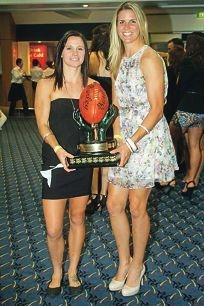 WA Women's Football League Dhara Kerr Fairest and Best winners Chelsea Randall (Swan Districts Football Club) and Kiara Bowers (Coastal Titans Football Club).