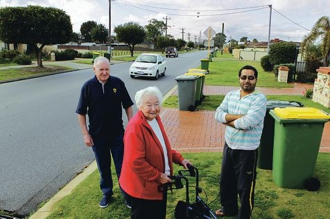 Renou Street residents Gil Watson, Ivy Spencer and Kamal Madan say hoons regularly speed down the street and are an accident waiting to happen. Picture: Martin Kennealey www.communitypix.com.au d405465